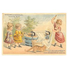 ANTIQUE VICTORIAN Trade Card - The American Machine Co, Wringer - Mother & Children