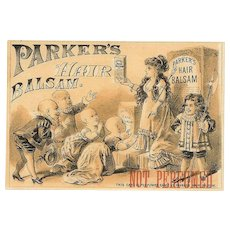 ANTIQUE VICTORIAN Trade Card - Parker's Hair Balsam, Queen and BALD Courtiers