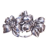 Vintage Sterling Silver Double Flower Pin Brooch Double Florals