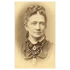 VICTORIAN Cabinet Photo - Elderly Lady Wearing Whitby Jet Baubles