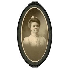 VICTORIAN Cabinet Photo - Young Lady Wearing a Long Chain & Watch
