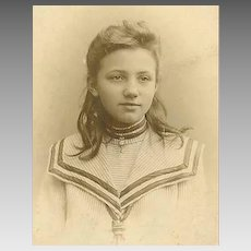 VICTORIAN Cabinet Photo - Young Girl in Sailor Dress