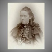 VICTORIAN Cabinet Photo - Young Girl in Tartan Blouse, With Cape
