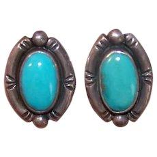 Vintage STERLING SILVER Earrings - Native American, Turquoise, Handmade