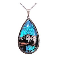 Hoffman Sterling Silver Anamorph Butterfly Wing Pendant Necklace- Lake Scene Design