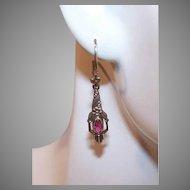 Vintage 9K GOLD Orphan Earring - European, Floral, Rhinestone Paste, Drop, Pierced