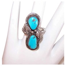 Vintage STERLING SILVER Ring - Native American, Turquoise,  Signed
