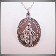 Vintage STERLING SILVER Medal - Religious, Large, Oval, Miraculous Medal, Virgin Mary