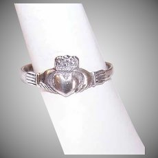 Vintage STERLING SILVER Ring - Irish, Claddagh, Friendship, Heart, Crown, Size 7-3/4