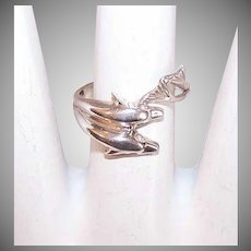 Vintage STERLING SILVER Ring - Pair of Dolphins