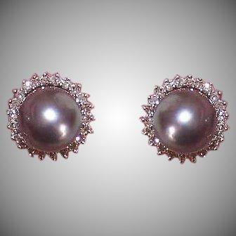 Vintage 14K GOLD Earrings - Tahitian, Grey Black, Cultured Pearls, .44CT TW, Diamonds, Pierced