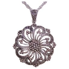 Vintage STERLING SILVER Pendant - Marcasite, Round, Swirl, Art Deco Revival