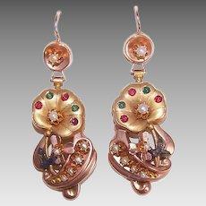 ANTIQUE VICTORIAN 14K Gold Earrings - Museum Quality, Gemstone, Drops, Original Box