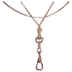 ANTIQUE EDWARDIAN Gold Filled Necklace - Lorgnette Chain, Watch Chain, Hand Holding Swivel