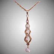 ART NOUVEAU 14K Gold Pendant - Cultured Pearl, Lavaliere, Lengthy Drop