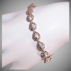 "Vintage STERLING SILVER Bracelet - Sun Face, Celestial, Italian, 7-3/8"", 7.9 Grams"