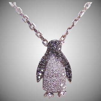 Vintage 10K GOLD Pendant - White, Black, .45CT TW, Diamond, Penguin