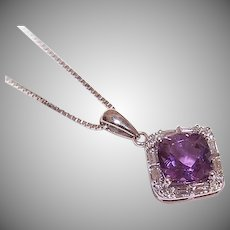 Vintage 14K GOLD Pendant - 2.24CT TW, Princess Cut Amethyst, Diamonds, White Gold