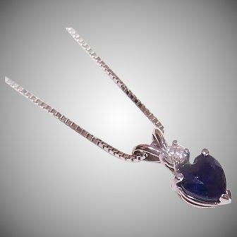 Vintage 14K GOLD Pendant - .71CT TW, Blue Topaz, Diamond, Heart Shaped