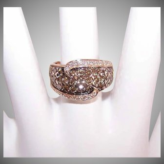 LeVian 14K GOLD Ring - 1CT TW, White, Chocolate, Rose Gold, Size 6-1/2, Cocktail Ring