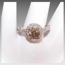 LeVian 18K GOLD Ring - Diamond, Engagement, 1.02CT Fancy Color Center, 1.50CT TW Shoulder