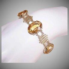 Vintage 14K Gold Bracelet - 41.75CT TW, Citrine, Retro Modern, Modernist, Link, Hidden Clasp