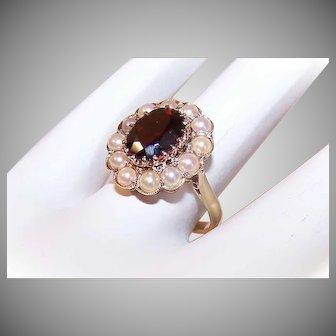 Vintage 9K GOLD Ring - 2CT Garnet, Cultured Pearl, European