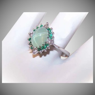 Vintage 14K GOLD Ring - 1.84CT TW, Green Star Sapphire, Emerald, Diamond, Cocktail Ring