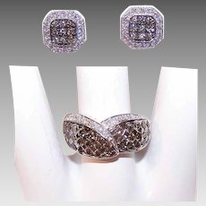 Vintage Jewelry Set - LeVian, 18K Gold, Chocolate Diamond, Earrings, 14K Gold, Ring