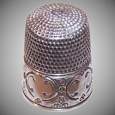 Vintage STERLING SILVER Thimble - Sewing, Size 12, Curlicue, Unengraved