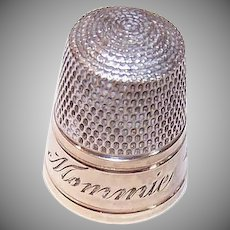 Vintage STERLING SILVER Thimble - Simons, Gold Wash, Engraved, Mommie, 12-25-47