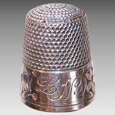 ANTIQUE EDWARDIAN Sterling Silver Thimble - Simons, Size 12, Flowers, Engraved LN