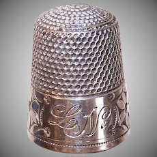 ANTIQUE EDWARDIAN Sterling Silver Thimble - Simons, Size 12, Flowers, Engraved LN