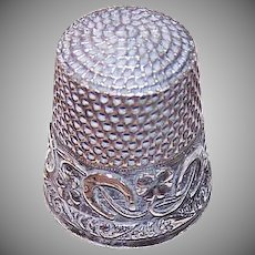 ANTIQUE EDWARDIAN Sterling Silver Thimble - Horseshoe, Clover, Lucky, Size 6