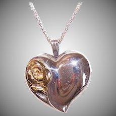 Vintage STERLING SILVER Pendant - Gorham, Heart, Rose, Gold Vermeil