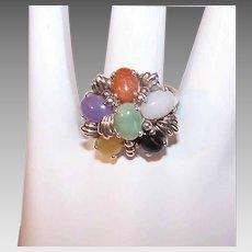 Vintage STERLING SILVER Ring - Multi Color Jade, Size 7