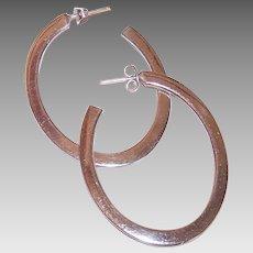 Vintage STERLING SILVER Earrings - Oval, Hoops, Pierced, Medium Size