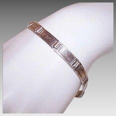Vintage STERLING SILVER Bracelet - Forget Me Not, Link World War II, Sweetheart