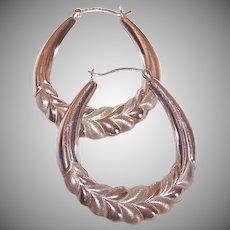 Vintage STERLING SILVER Earrings - Hoops, Leaf Design, Pierced