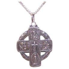 Vintage STERLING SILVER Medal - Religious, Pendant, Jesus, Mary, St. Christopher, St. Joseph
