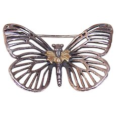 Vintage STERLING SILVER Pin - 18K Gold, Lagos, Caviar, Butterfly, Brooch