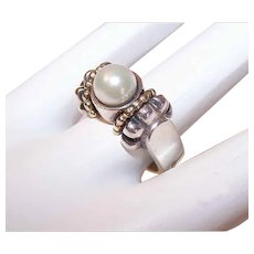 Vintage STERLING SILVER Ring - 18K Gold, Lagos, Caviar, Cultured Pearl, Ring