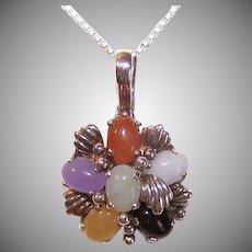 Vintage STERLING SILVER Pendant - Multicolor Jade, Necklace Enhancer