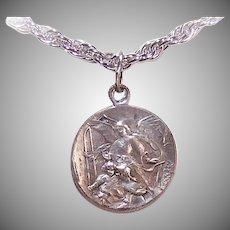 Vintage SILVERPLATE Religious Charm - Saint Joseph, Infant Jesus, Guardian Angel