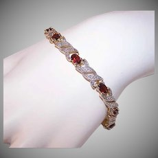 Vintage STERLING SILVER Bracelet - Vermeil, Diamond, Garnet Paste, Tennis Bracelet, Line Bracelet