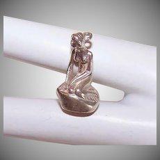 Vintage STERLING SILVER Charm - The Little Mermaid, Bernard Hertz, Denmark, Souvenir