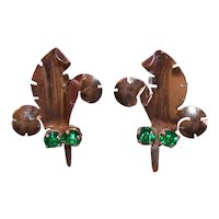Sterling Vermeil Emerald Paste Prince of Wales Feather Earrings