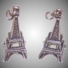 VIntage STERLING SILVER Charms - Pair, Eiffel Tower, Paris, France, Souvenir