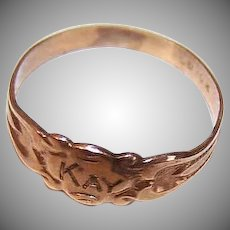ANTIQUE EDWARDIAN 10K Gold Ring - Ostby & Barton, Baby Ring, Engraved KAY