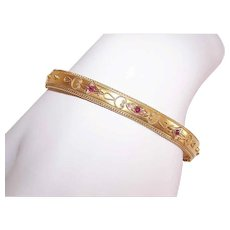 ANTIQUE EDWARDIAN 15K Gold Bracelet - Cuff, Bangle, Etruscan Revival, Ruby, Natural Pearl